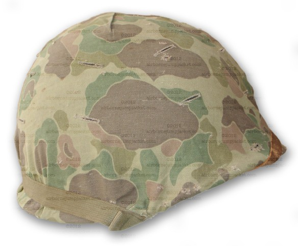 WWII USMC Helmet with Camouflage Cover front view