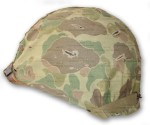 WW2 Marine Helmet with Camouflage Cover side view