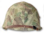 WWII USMC Helmet with Marine Camouflage Cover front view