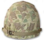 WWII USMC Helmet with Marine Camo Cover back view