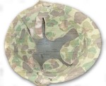 WWII USMC Helmet with Marine Camouflage Cover interior detail