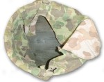 WWII USMC Helmet with Reversible Marine Camouflage Cover interior detail