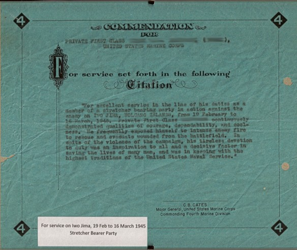 Fourth Marine Division Stretcher Bearer Document