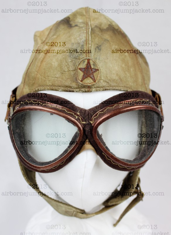japanese flight helmet front ww2